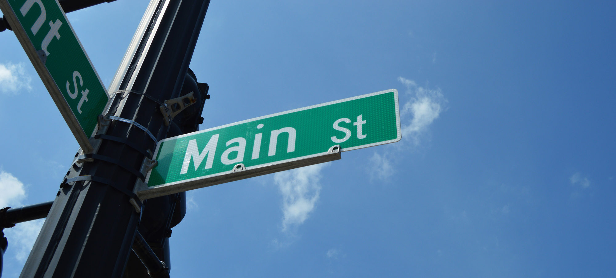 small town municipal street sign