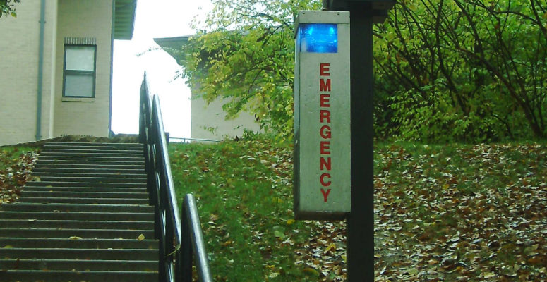 emergency phone on college university campus