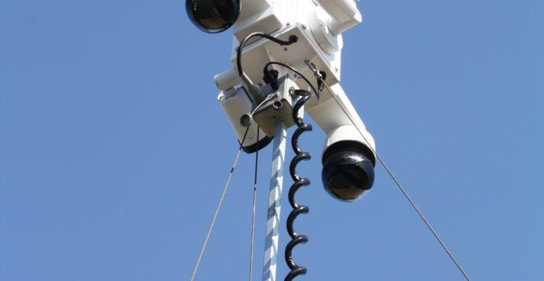 tilt, pan, zoom video surveillance security cameras on mobile trailer