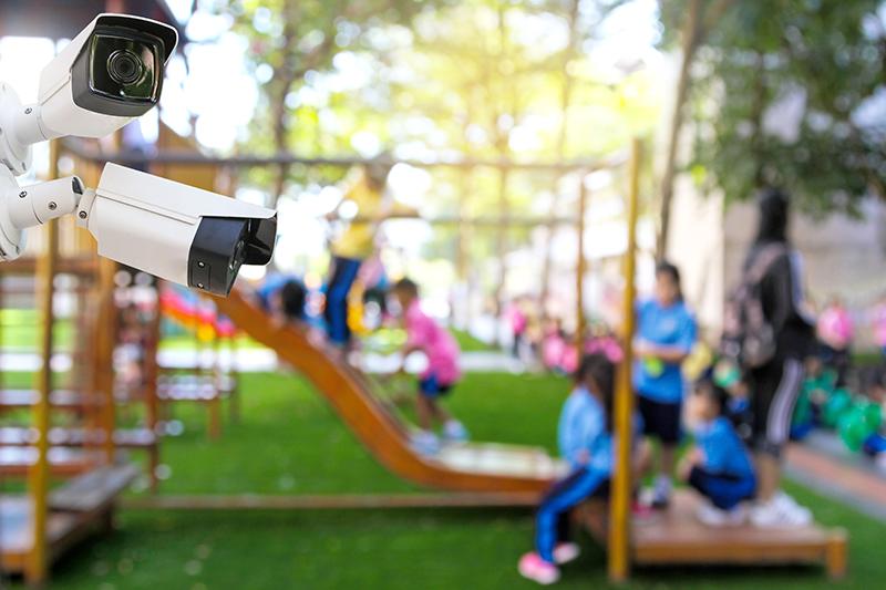 security surveillance cameras on school campus