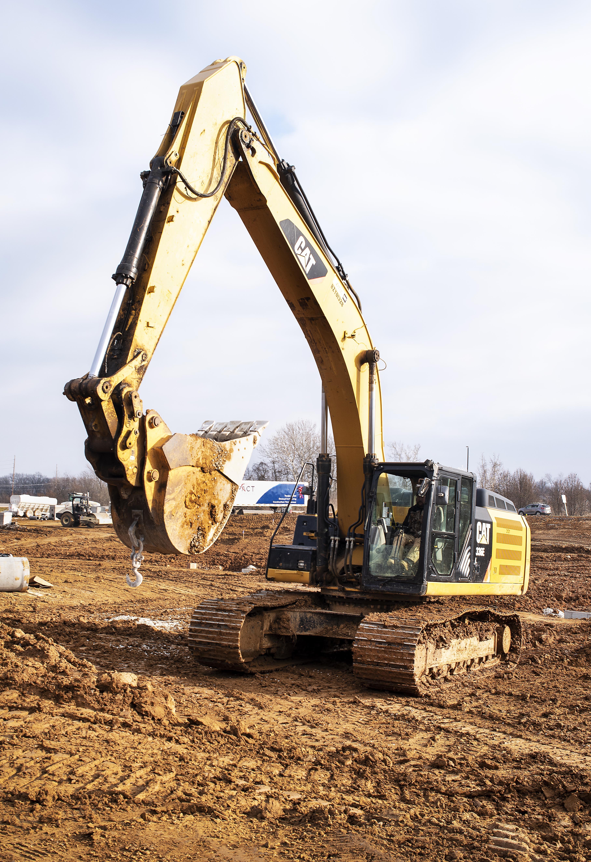 construction steam shovel under security video surveillance