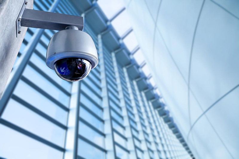 dome video surveillance security camera on business