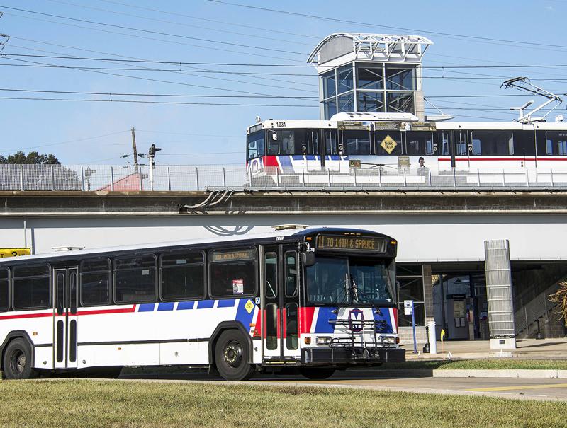 mass transit Bi-State bus and train st louis missouri