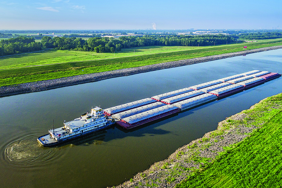 marine security barge on chain of rocks canal