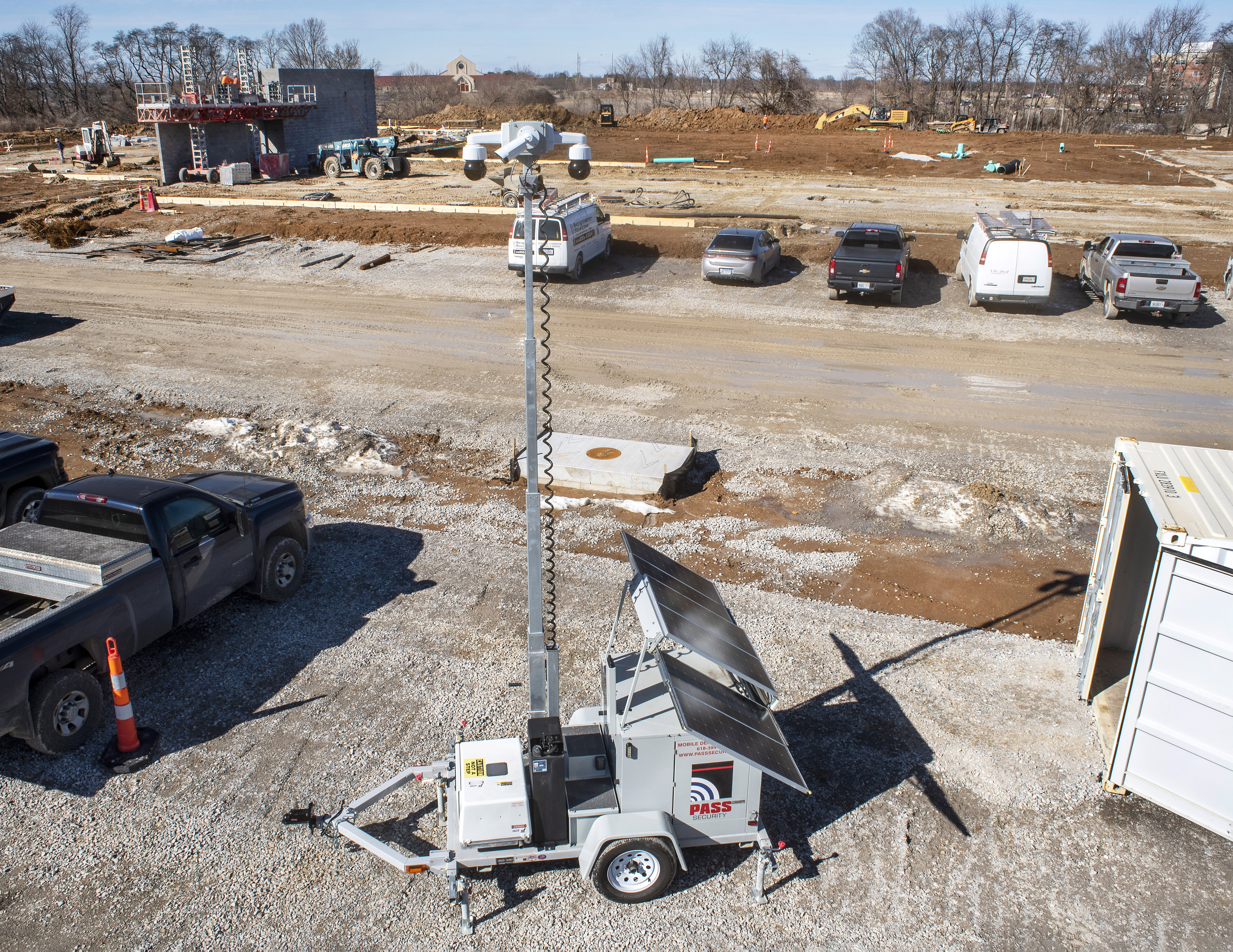mobile video surveillance security camera trailer on construction site st louis
