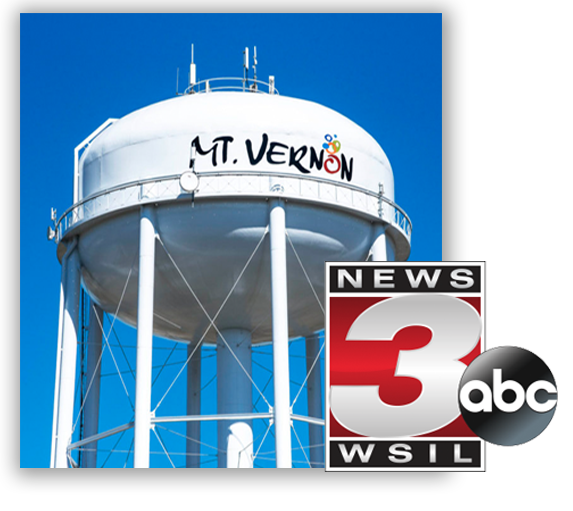 Mt. Vernon Channel 3 television news station logo and city water tower
