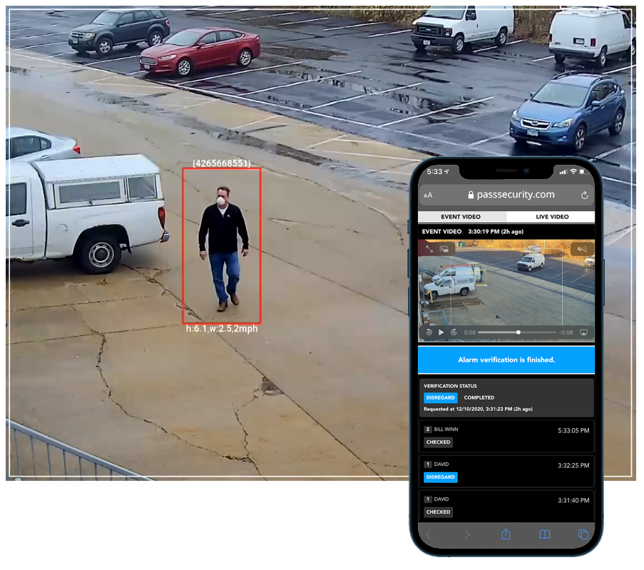 man watched by security video surveillance cameras
